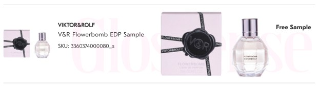 Shoppers Drug Mart Canada Beauty Boutique SDM Canadian Freebies Free Samples Free Viktor and Rolf Flowerbomb Perfume Mini Miniature EDP Deluxe Sample - Glossense