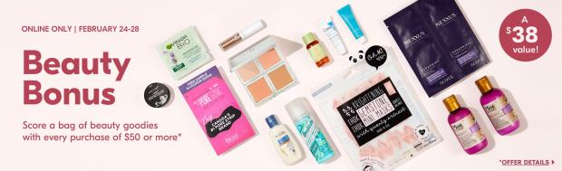 Shoppers Drug Mart Canada Free Beauty Bonus Bag Beauty Goodies 14 Products 1 Full-Size ELF Palette Mini Deluxe Samples February 2020 Canadian Gift with Purchase Offer - Glossense