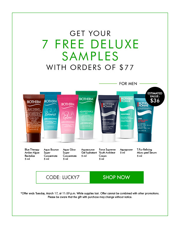 Biotherm Canada Free 7pc Lucky Skincare Gift Set Purchase 2020 St Patricks Day Canadian Deals GWP Offer - Glossense
