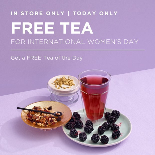 David's Tea Canada Free Tea TODAY for International Women's Day March 8 2020 - Glossense