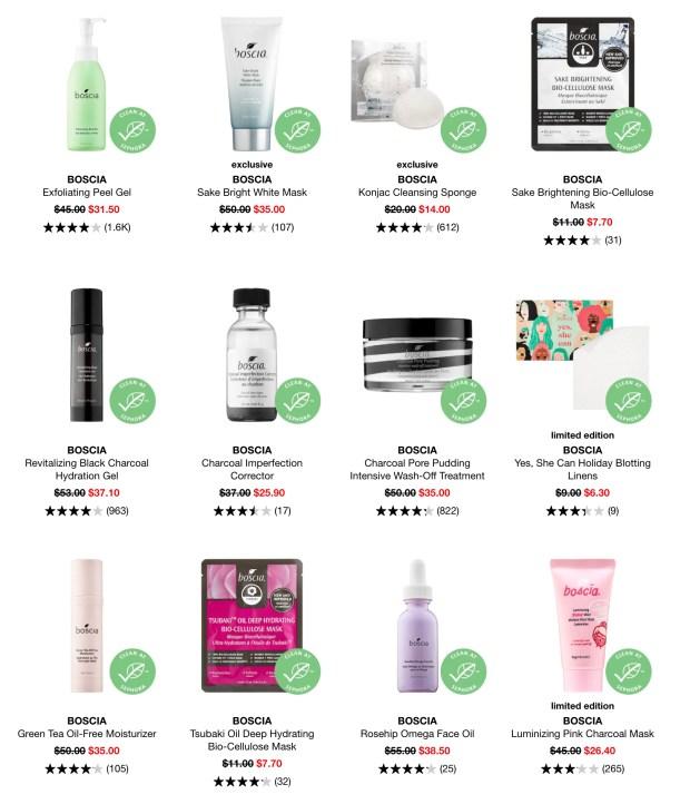 Sephora Canada Hot Spring Sale 30 Off Boscia Skincare 2020 Canadian Deals - Glossense