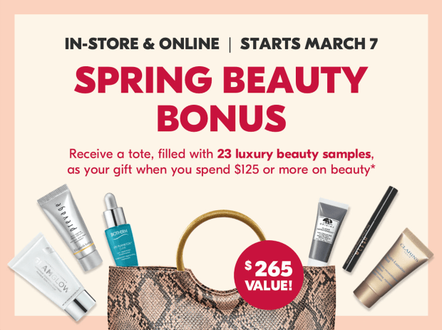 Shoppers Drug Mart Canada SDM Beauty Boutique Canadian Spring 2020 Beauty Bonus March 7 2020 Free Tote GWP Free Gift with Purchase Free Deluxe Samples Offer Beauty Freebies Deals - Glossense
