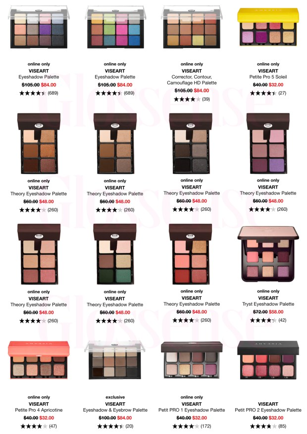 Sephora Canada Hot Spring Sale Viseart Face Eyeshadow Palettes Stack Promo Code 2020 Canadian Deals - Glossense