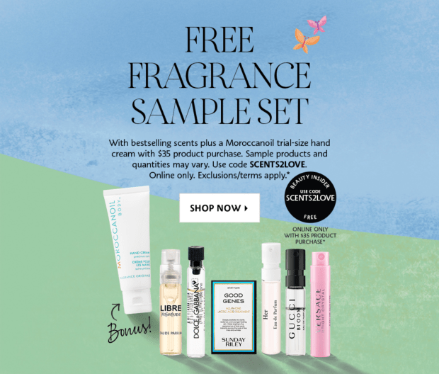 Sephora Canada Promo Code Free April Fragrance Skincare Sample Set Bonus Moroccanoil Hand Cream Trial-size Canadian GWP Beauty Offer - Glossense