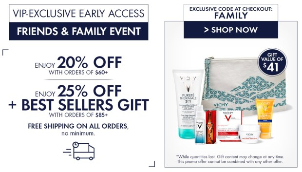 Vichy Canada Friends Family Spring Sale Event Save 20 25 Off Free 6-pc Best Sellers Gift Set 2020 Canadian Deals GWP Offer Promo Code - Glossense