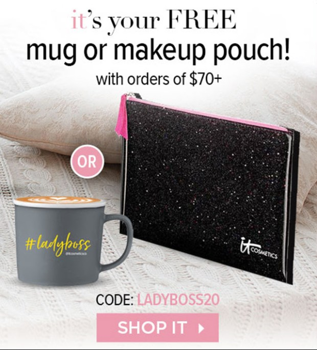 IT Cosmetics Canada Free Lady Boss Coffee Mug or Confetti Makeup Bag with Purchase Victoria Day 2020 Canadian GWP Offers Promo Code - Glossense