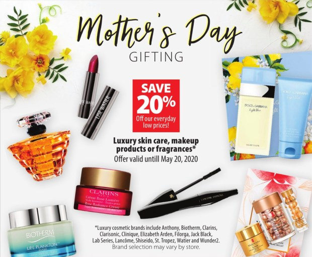 London Drugs Canada Mother's Day Luxury Beauty Event Save 20 Off Luxury Skincare Makeup Fragrance 2020 Canadian Deals Sale - Glossense
