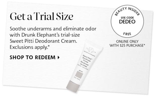 Sephora Canada Canadian Promo Code Free Drunk Elephant Sweet Pitti Deodorant Cream Deluxe Mini Sample 2 - Glossense