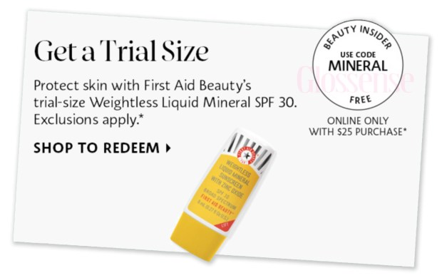 Sephora Canada Promo Code Free First Aid Beauty Weightless Liquid Mineral Sunscreen Deluxe Mini Sample Purchase - Glossense