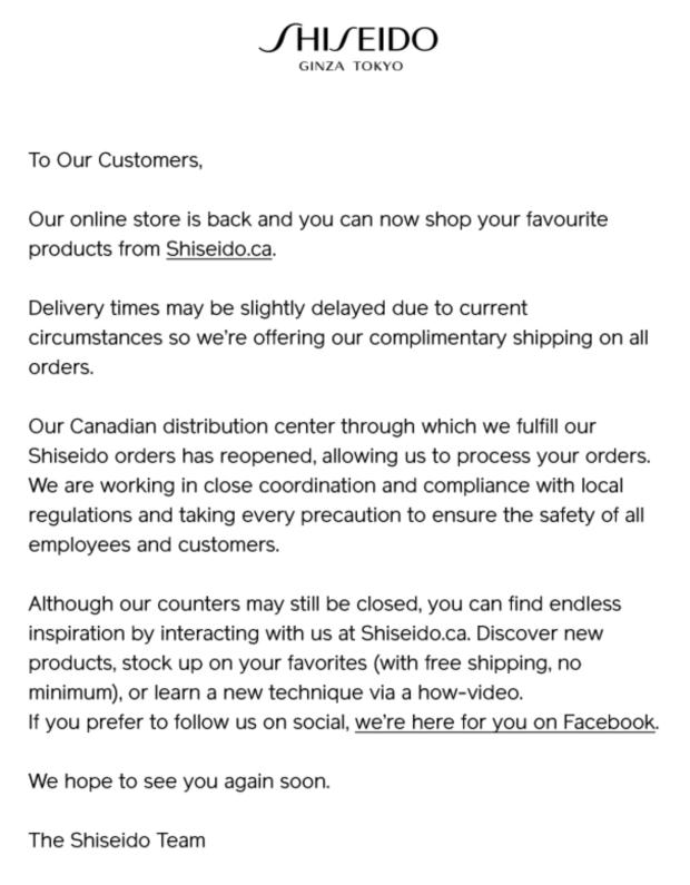 Shiseido Canada Online Store is BACK Free Canadian Shipping Update in Response to Coronavirus COVID-19 - Glossense