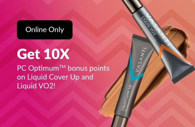 Shoppers Drug Mart Beauty Boutique Canada SDM Purchase Vasanti Liquid Cover Up or VO2 Get 10x the PC Optimum Points - Glossense