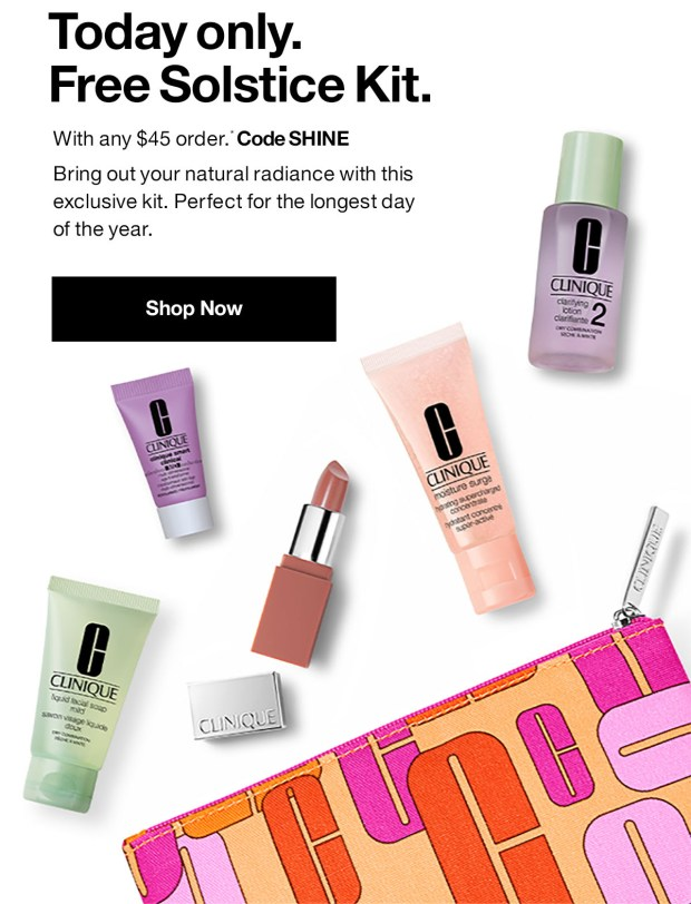Clinique Canada Free Summer Solstice 6-pc Kit Purchase 2020 Canadian Deals GWP Offer - Glossense