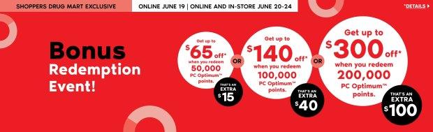 Shoppers Drug Mart Canada PC Optimum Exclusive SDM Spend Your Points Bonus Redemption Event June 19 20 - 24 2020 - Glossense