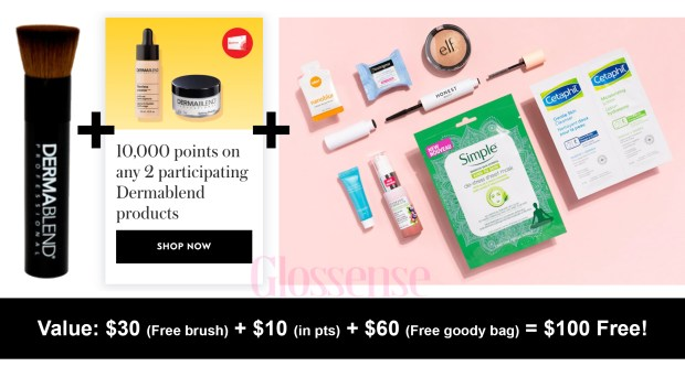 Shoppers Drug Mart Canada Shop Dermablend Get Free Makeup Brush Bonus 10000 PC Optimum Points Free 60 Goody Bag HOT Canadian Stacking Deal - Glossense