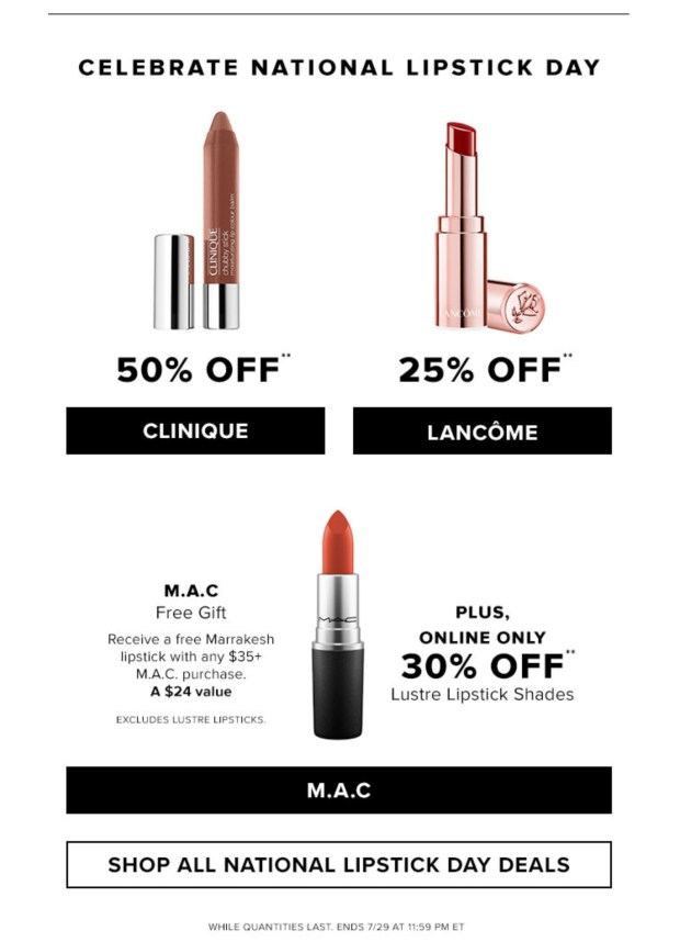 Hudson's Bay Canada 50 Off Clinique 25 Off Lancome Kiehl's More National Lipstick Day 2020 Canadian Deals Sale Free Gifts - Glossense