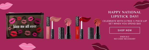 KVD Vegan Beauty National Lipstick Day Free 5-pc Gift Glimmer Veils Sale - Glossense