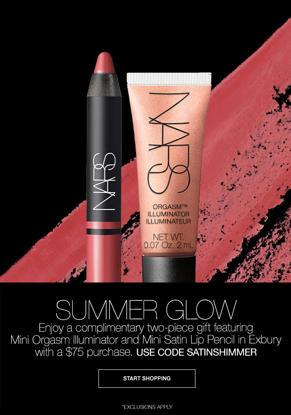 Nars Cosmetics Canada Promo Code Free 2-pc Summer Glow Gift Purchase July 2020 Monthly Canadian GWP Beauty Offer Deal - Glossense