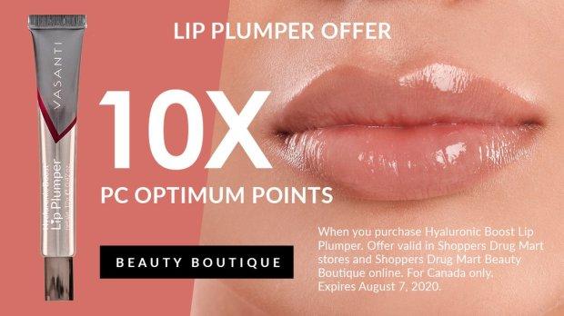 Shoppers Drug Mart Beauty Boutique Canada SDM Purchase Vasanti Lip Plumper Get 10x the PC Optimum Points - Glossense