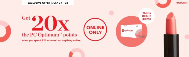 Shoppers Drug Mart Canada Online Spend 75 Get 20x the PC Optimum Points July 24 - 26 2020 - Glossense