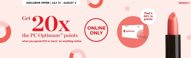Shoppers Drug Mart Canada Online Spend 75 Get 20x the PC Optimum Points July 31 August 2 2020 - Glossense