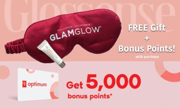 Shoppers Drug Mart Canada Shop GlamGlow Online Receive Free Sleep Mask BrightEyes Sample Stack PC Optimum Points Bonus Canadian Deals Offer - Glossense
