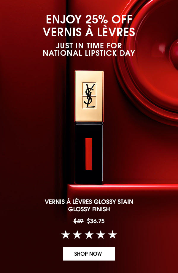 Yves Saint Laurent Canada 25 Off Vernis A Levres for National Lipstick Day Free Gift 2020 Canadian Deals Sale Promo Code - Glossense