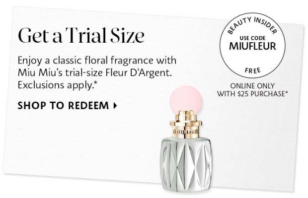 Sephora Canada Promo Code Free Miu Miu Fleur D'Argent Perfume Mini Canadian Beauty Offer - Glossense