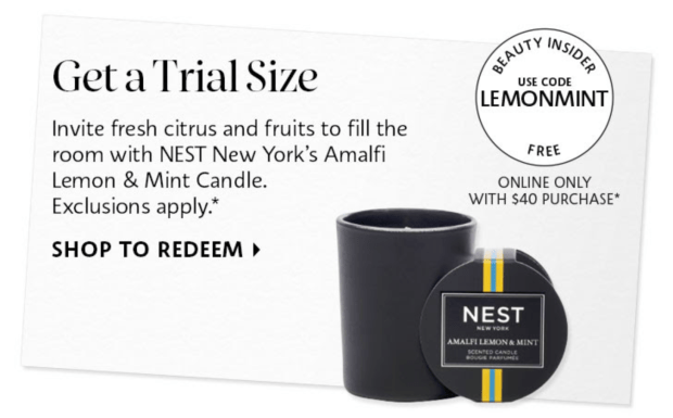 Sephora Canada Promo Code Free Nest New York Amalfi Lemon Mint Mini Candle Canadian Beauty Offer - Glossense