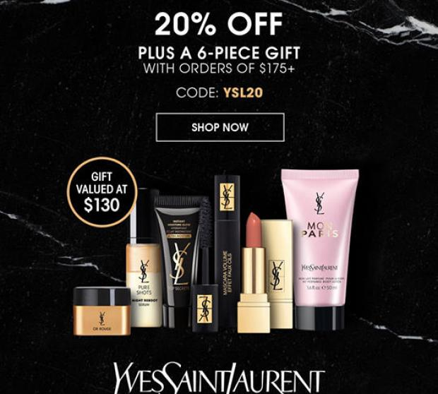 Yves Saint Laurent Canada YSL Beauty Days 20 Off Sitewide Free 6-pc Gift 2020 Canadian Deals Sale Promo Code - Glossense