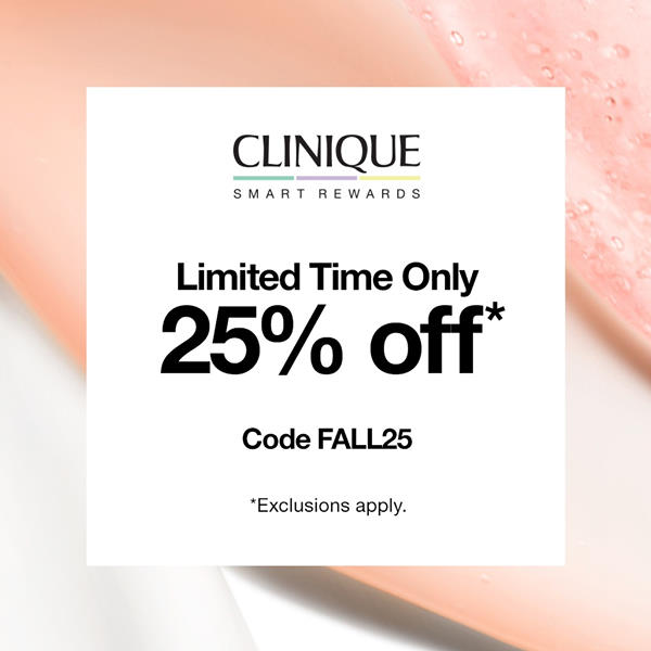 Clinique Canada Smart Rewards Fall Kickoff Sale Save 25 Off Any Order 2020 Canadian Deals Promo Code - Glossense