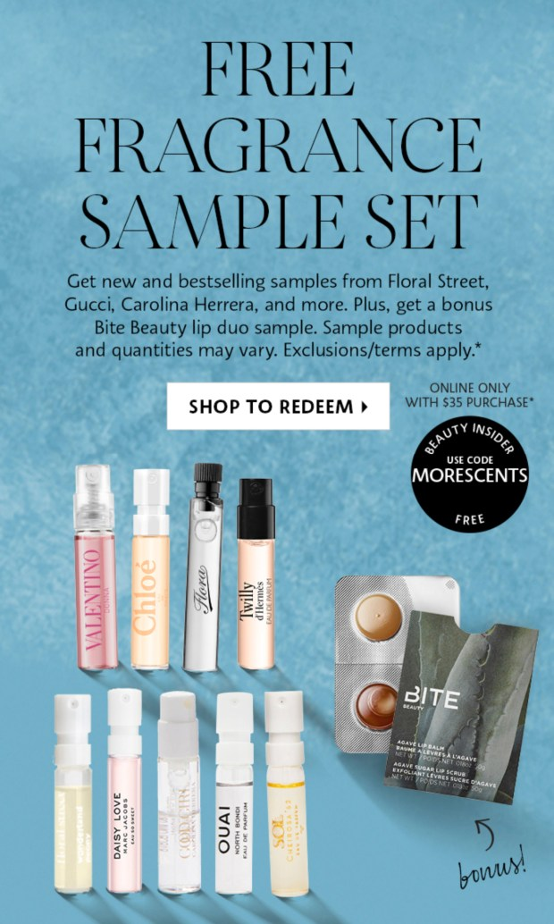 Sephora Canada Promo Code Free Fragrance Sample Set Bonus Bite Beauty Agave Lip Duo Sample Purchase Fall 2020 Canadian GWP Offer - Glossense