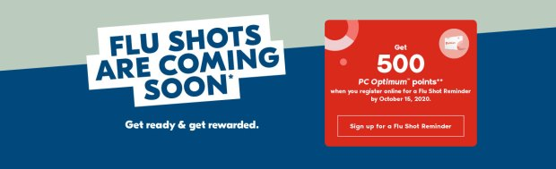 Shoppers Drug Mart Canada Sign-up for Flu Shot Reminder Get 500 Free PC Optimum Points Canadian Deals - Glossense
