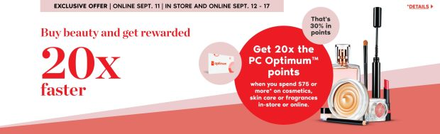 Shoppers Drug Mart Canada Spend 75 Get 20x the PC Optimum Points September 11 - 17 2020 - Glossense