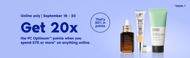 Shoppers Drug Mart Canada Spend 75 Online Get 20x the PC Optimum Points September 18 - 20 2020 - Glossense