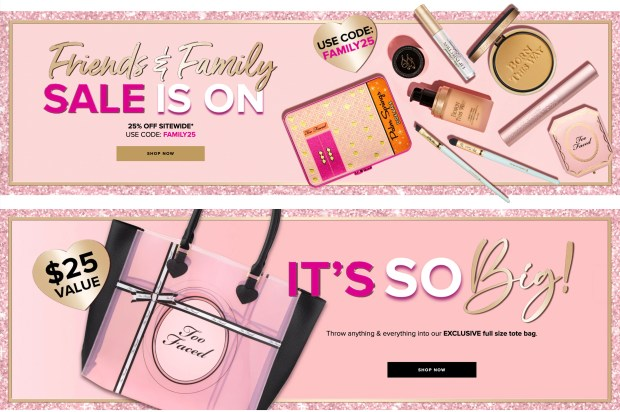 Too Faced Cosmetics Canada Friends Family Sale Free Gift Tote 2020 - Glossense