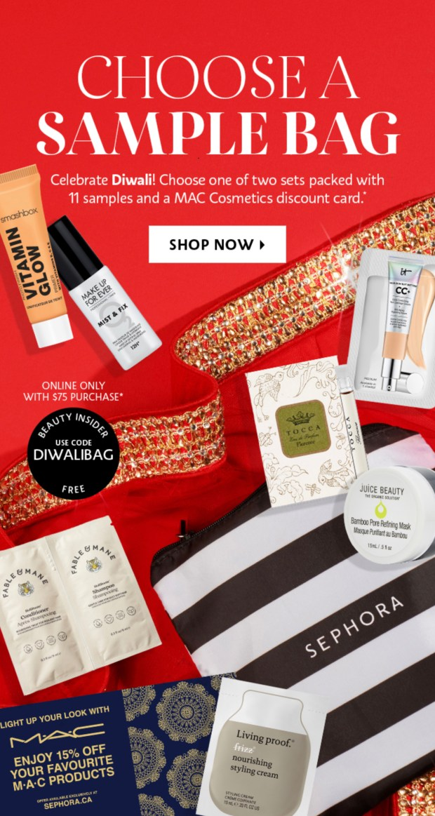 Sephora Canada Promo Code Free Diwali Sample Gift Bag 2020 Canadian GWP Beauty Offers - Glossense