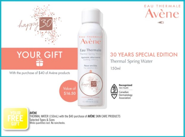 Shoppers Drug Mart Canada GWP Shop Avene Skincare Receive Free Thermal Spring Water In-store Canadian Deals Gift Offer - Glossense
