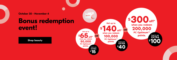 Shoppers Drug Mart Canada PC Optimum Exclusive Spend Your Points Bonus Redemption Event October - November 2020 - Glossense