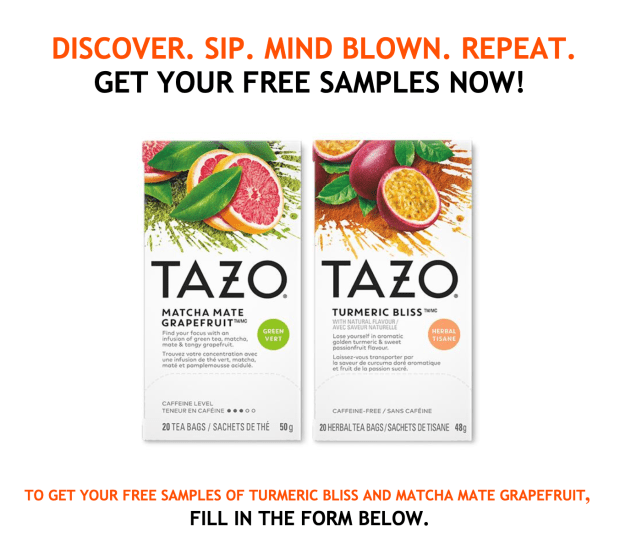 CANADIAN FREEBIES Get 2 Free Tazo Tea Samples Turmeric Bliss Matcha Mate Grapefruit Unilever Canada Offer - Glossense