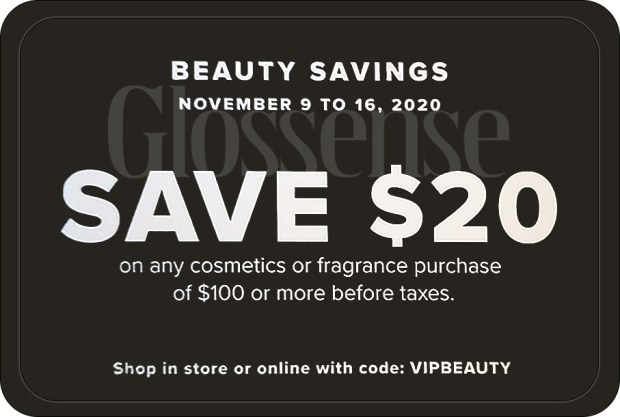 Hudson's Bay Canada Beauty Savings Event Save 20 Off 100 Cosmetics or Fragrance Purchase 2020 Canadian Deal Promo Code - Glossense