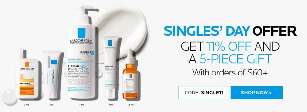 LA ROCHE-POSAY CANADA Singles Day 2020 Event 11 Off Sitewide Free 5-pc Gift Canadian Deals Sale GWP Offer Promo Code - Glossense