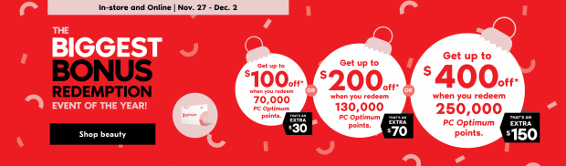 Shoppers Drug Mart Canada 2020 Black Friday Cyber Monday BIGGEST Bonus PC Optimum Points Redemption Event In-store Online Nov 27 Dec 2 - Glossense