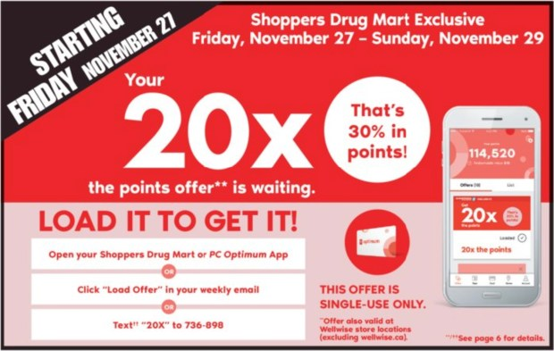 Shoppers Drug Mart Canada 2020 Black Friday PC Optimum 20x Points Offer - Glossense