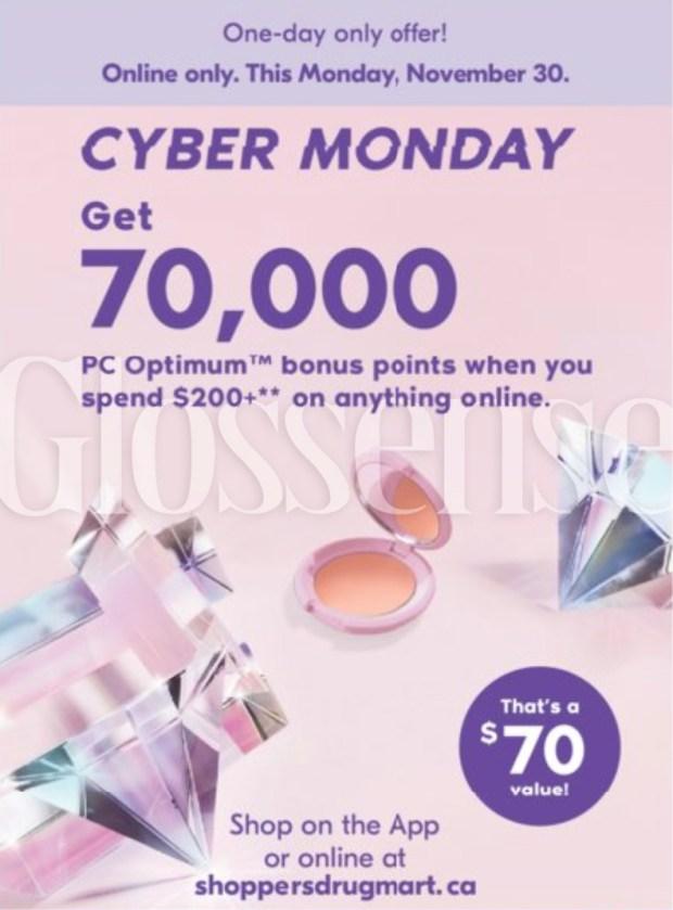 Shoppers Drug Mart Canada 2020 Cyber Monday Sneak Peek Spend 200 Get 70000 PC Optimum Bonus Points November 30 2020 - Glossense