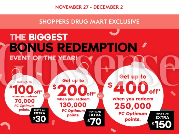Shoppers Drug Mart Canada Biggest Bonus Redemption 2020 Black Friday Cyber Monday Sale Canadian Deals PC Optimum - Glossense