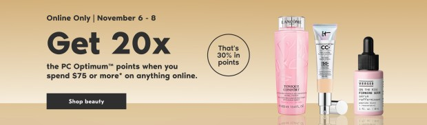 Shoppers Drug Mart Canada Spend 75 Get 20x the PC Optimum Points November 6 - 8 2020 - Glossense