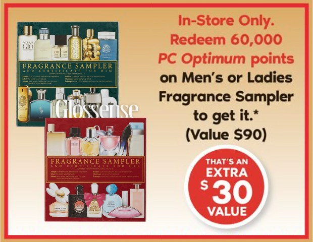 Shoppers Drug Mart Pharmaprix Canada Get a 90 Fragrance Sampler for Only 60,000 PC Optimum Points In-store Canadian Deals Bonus Redemption Offer Nov 2020 - Glossense