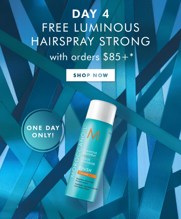 Moroccanoil Canada 12 Days of Gifting - Day 4 Free Luminous Hairspray Strong 2020 Canadian Deals - Glossense