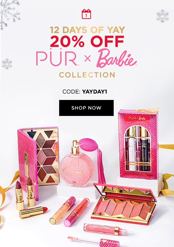 PUR Cosmetics Canada 12 Days of Yay 2020 Canadian Deals Sales Day 1 Save on Barbie Collection - Glossense