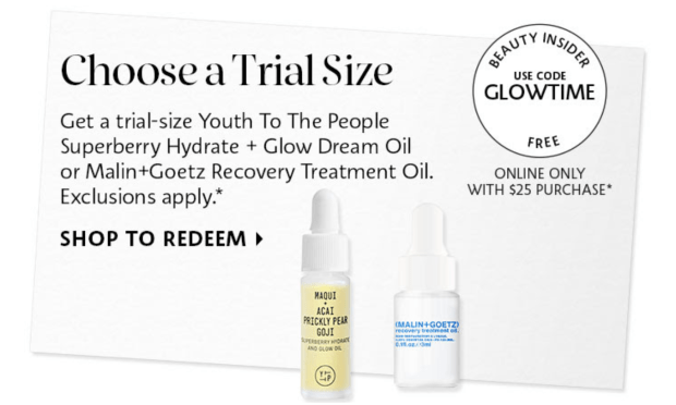 Sephora Canada Promo Code Free Youth to the People or Malin Goetz Face Oil Deluxe Mini Sample Purchase